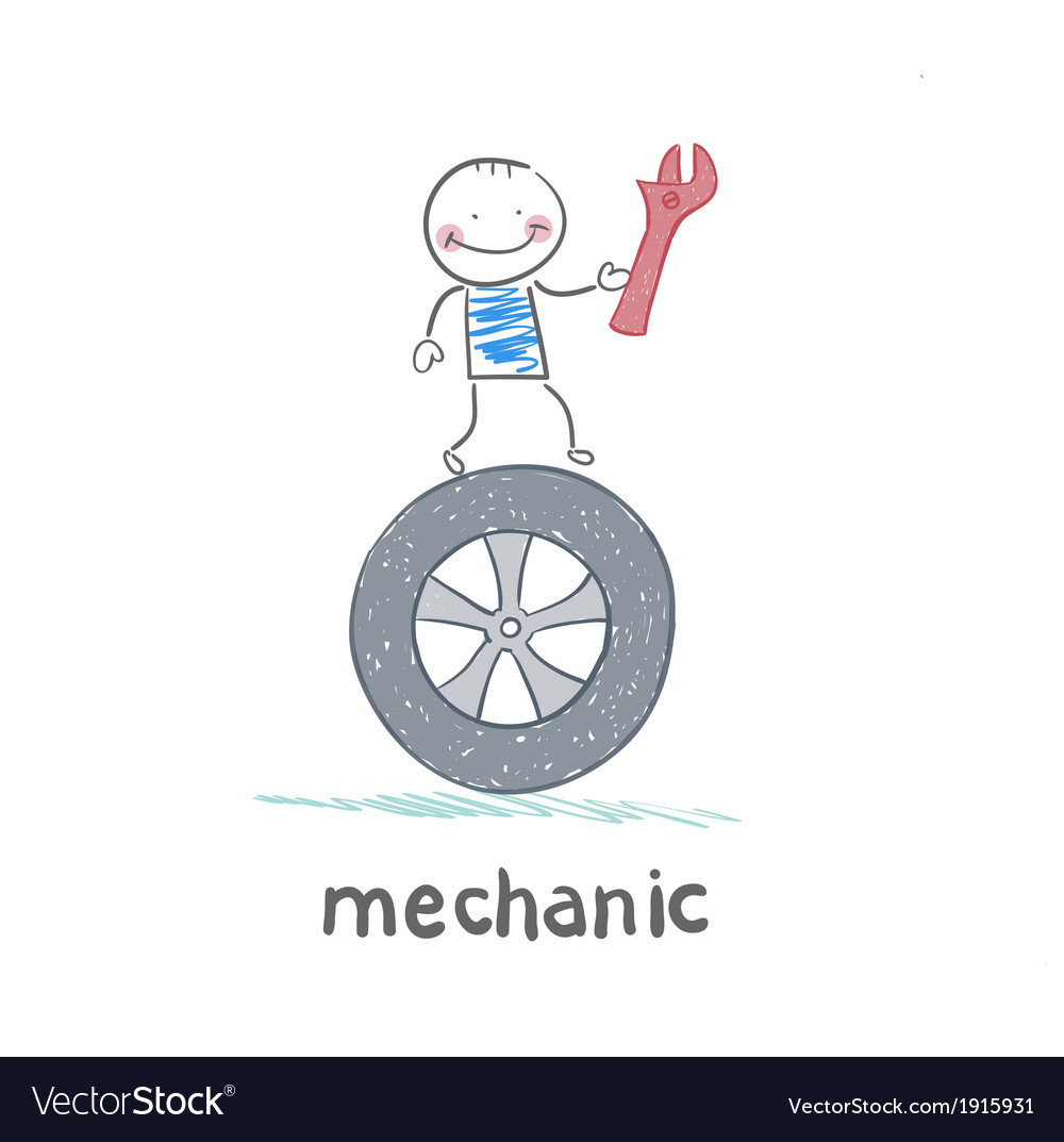 Mechanic holds the key and stands on the wheel vector | Price: 1 Credit (USD $1)