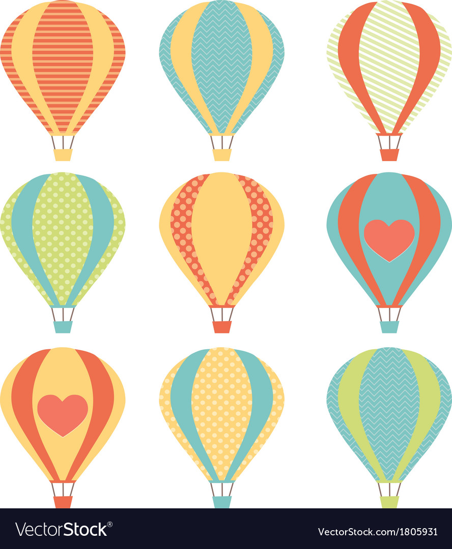 Set if colorful hot air balloons vector | Price: 1 Credit (USD $1)