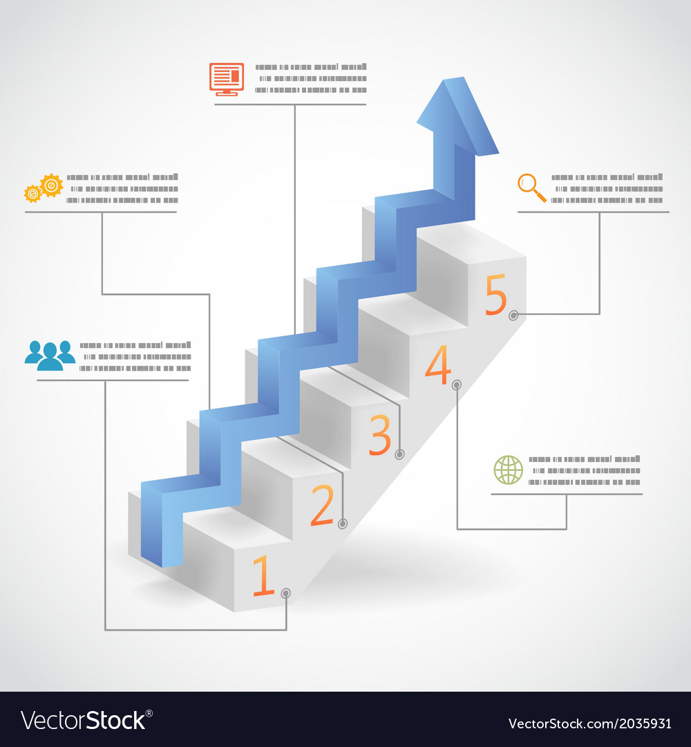 Success steps concept arrow and staircase vector | Price: 1 Credit (USD $1)