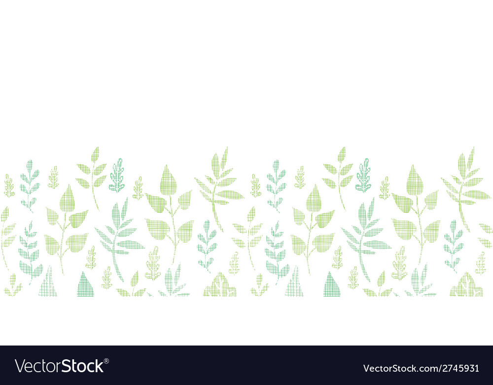 Textile textured spring leaves horizontal border vector | Price: 1 Credit (USD $1)