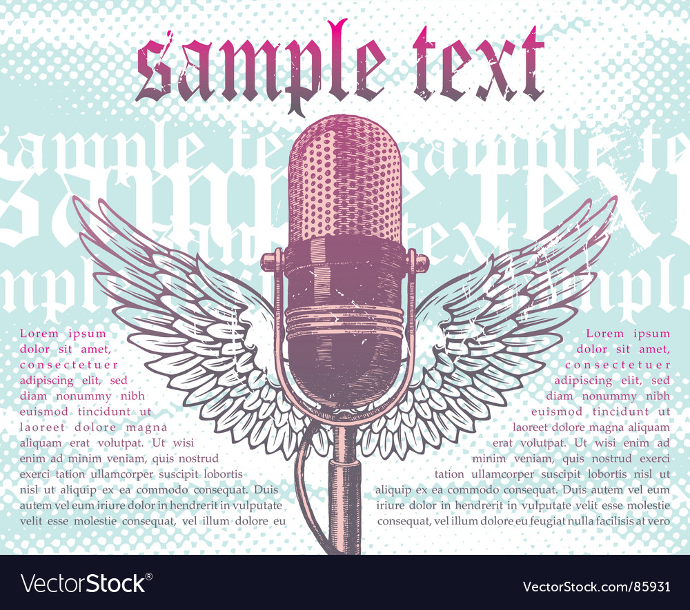 Winged microphone vector | Price: 1 Credit (USD $1)
