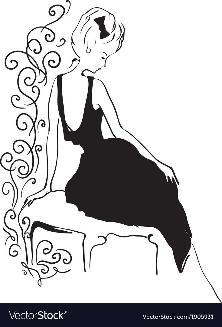 Woman vintage profile silhouette vector | Price: 1 Credit (USD $1)