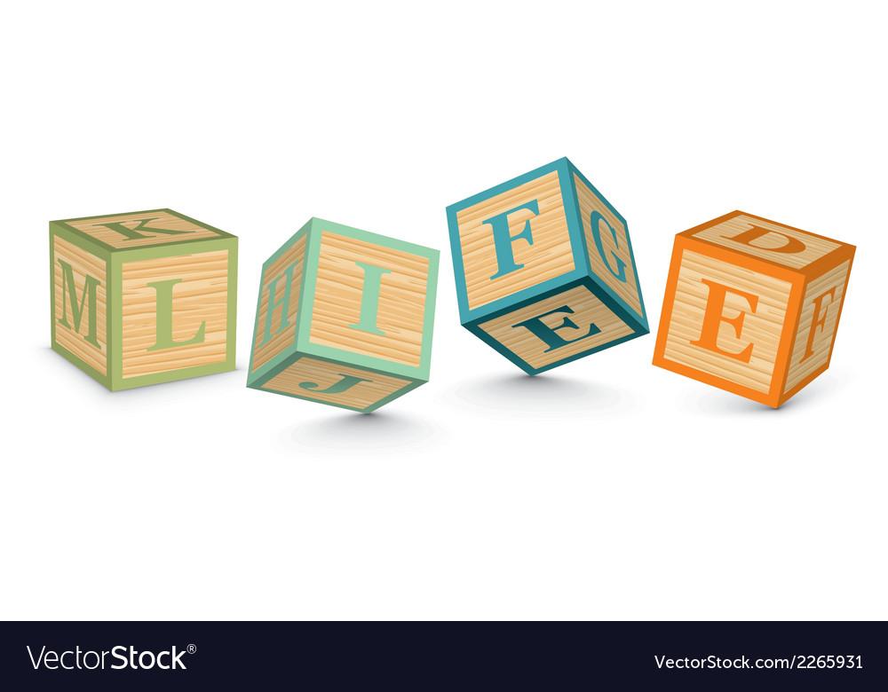Word life written with alphabet blocks vector | Price: 1 Credit (USD $1)