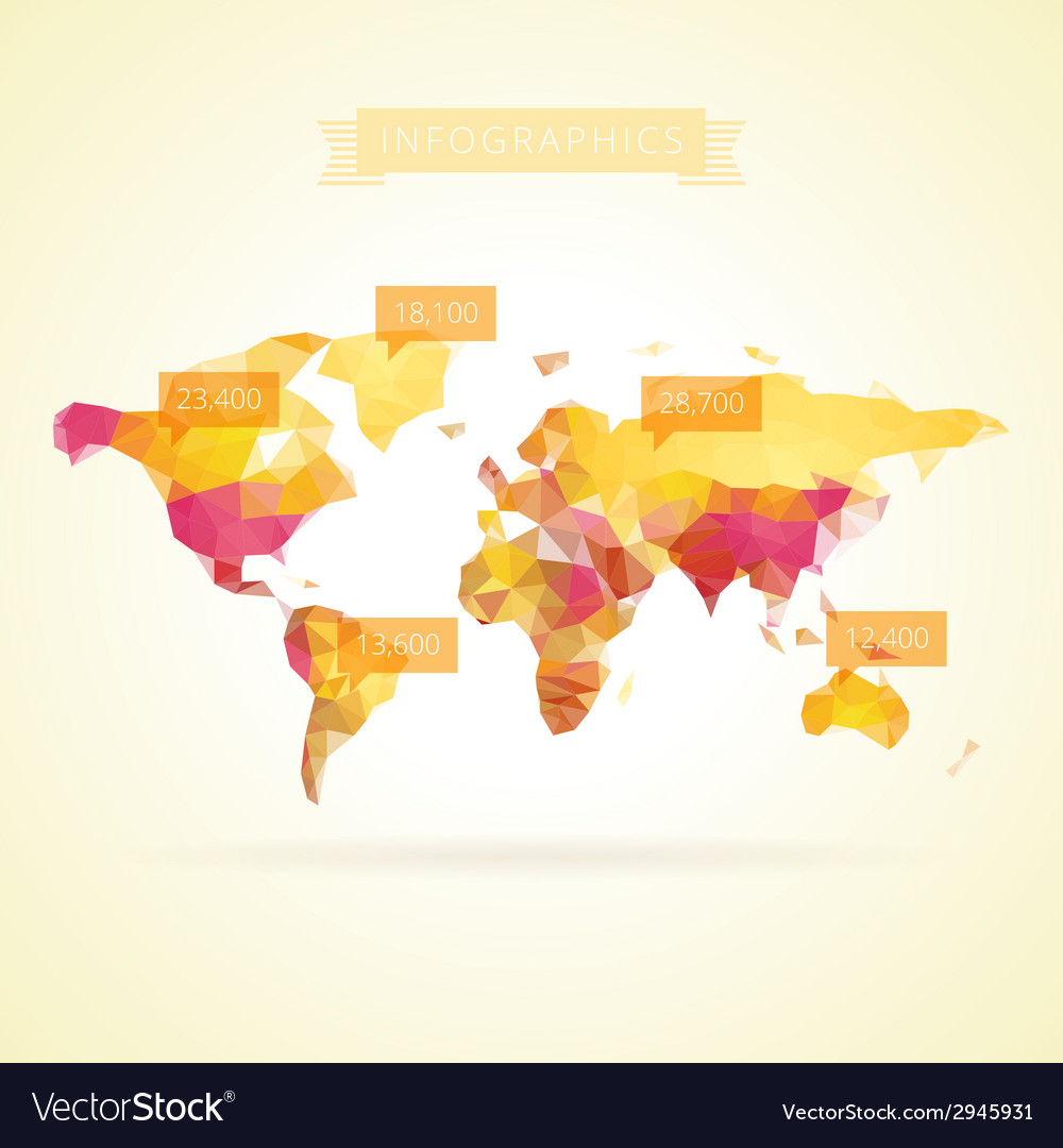 World map with elements of infographics vector | Price: 1 Credit (USD $1)