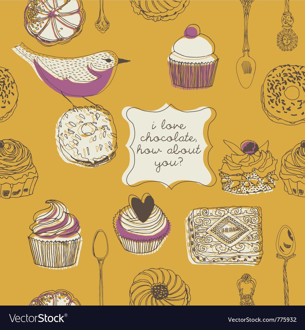 Cupcake and birds vector