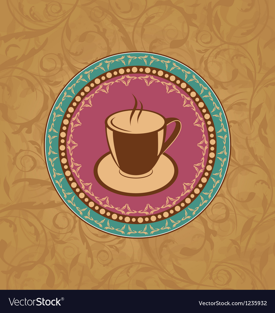 Cute ornate vintage with coffee cup vector | Price: 1 Credit (USD $1)