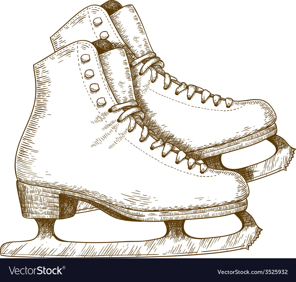 Engraving winter skates vector | Price: 3 Credit (USD $3)