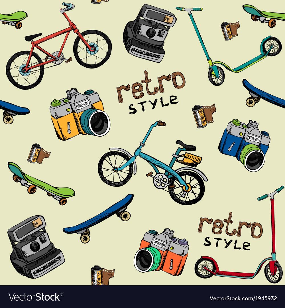 Hand drawn retro technique pattern vector | Price: 1 Credit (USD $1)