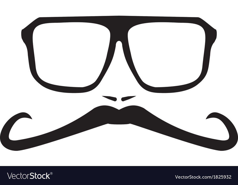 Men face with long mustache and big glasses vector | Price: 1 Credit (USD $1)