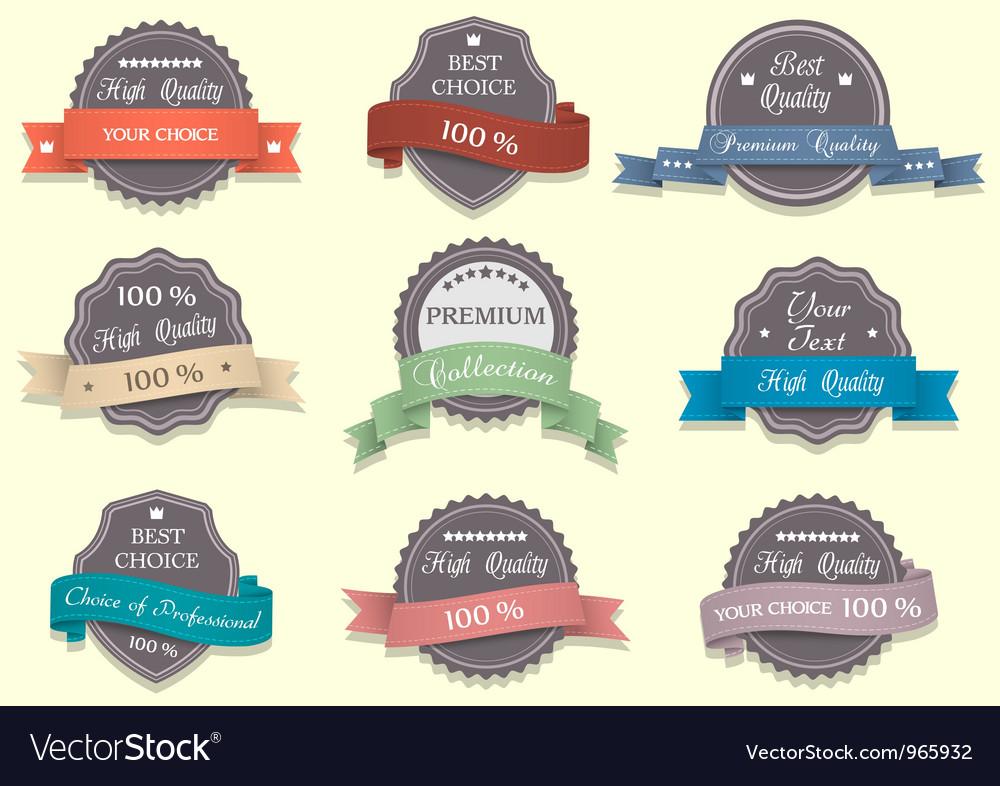 Nine premium quality labels vector | Price: 1 Credit (USD $1)