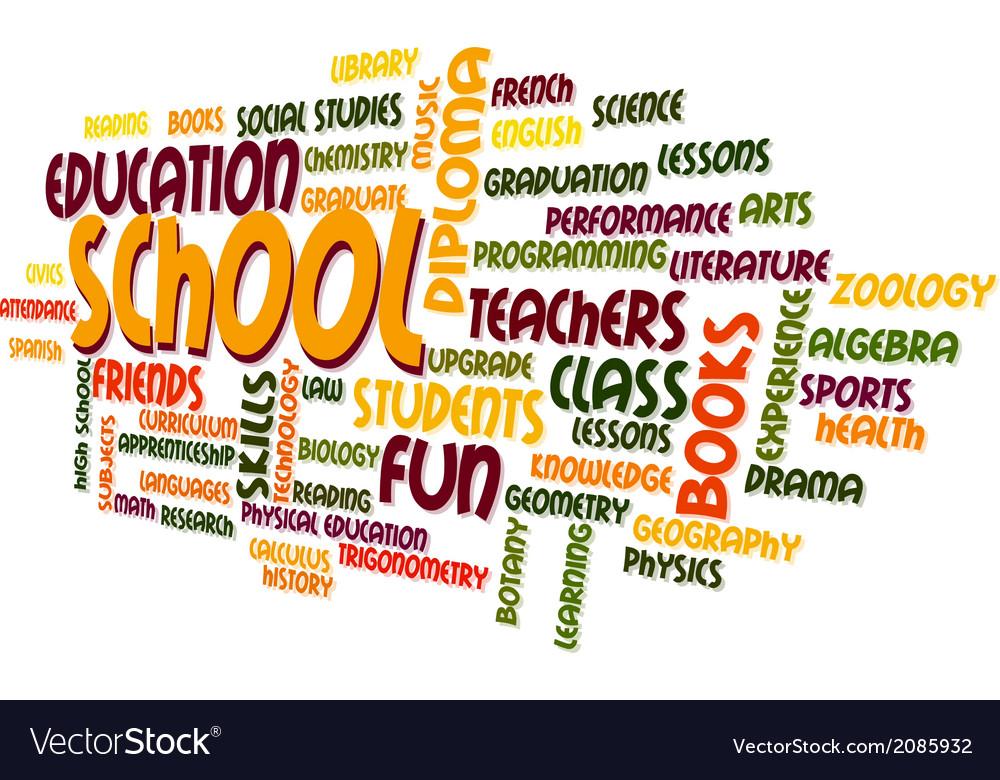 School word cloud bubble tag tree vector | Price: 1 Credit (USD $1)