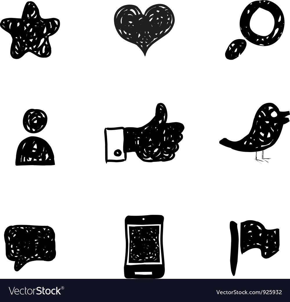 Sketch social media icons vector | Price: 1 Credit (USD $1)