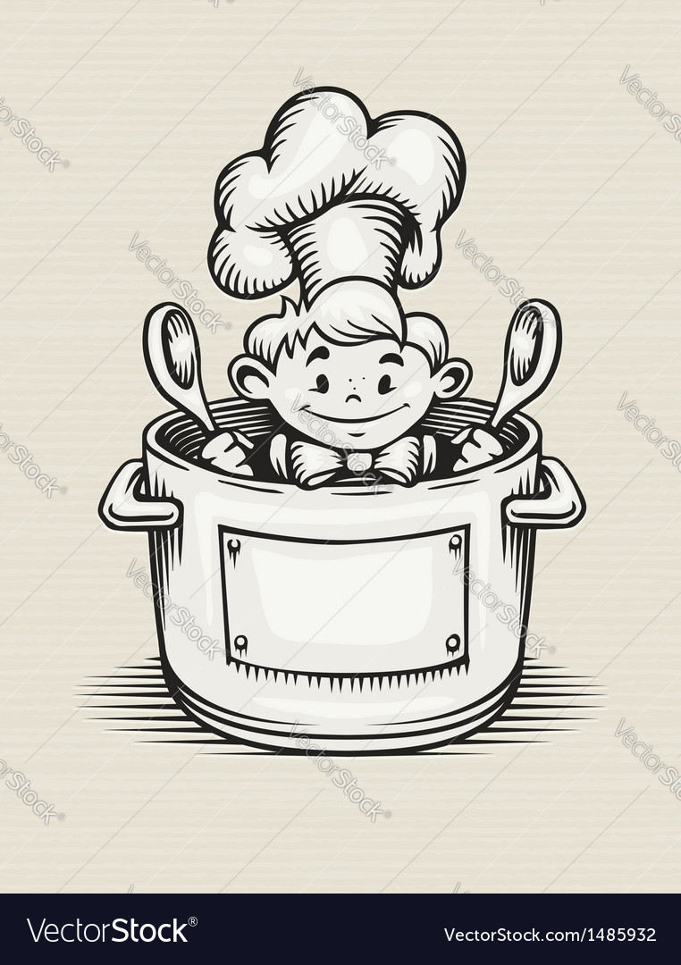 Smiling boy cooking in the vector | Price: 1 Credit (USD $1)