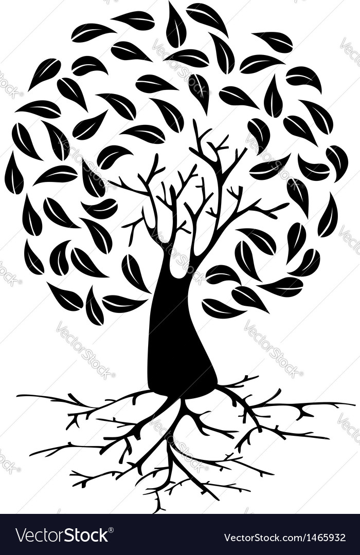 Young tree with roots silhouette vector | Price: 1 Credit (USD $1)