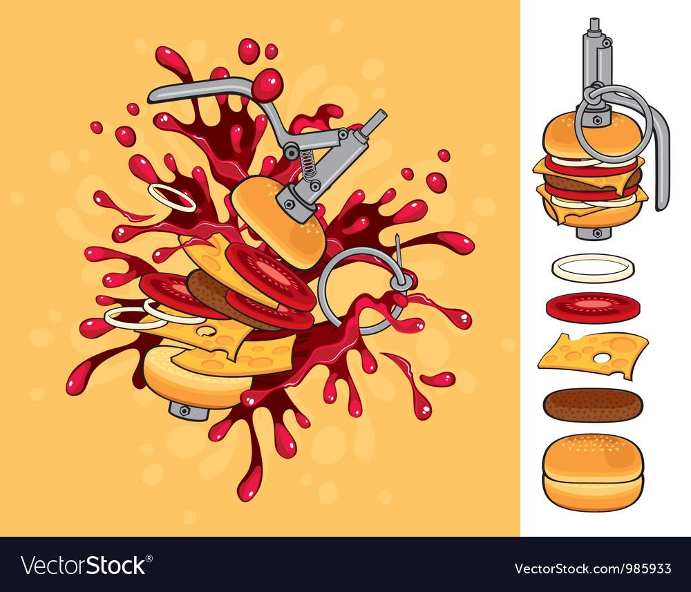 Cheeseburger grenade vector | Price: 3 Credit (USD $3)