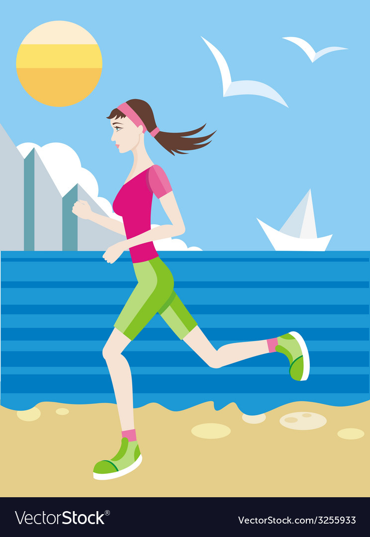 Girl in a sports uniform jogging on beach vector | Price: 1 Credit (USD $1)
