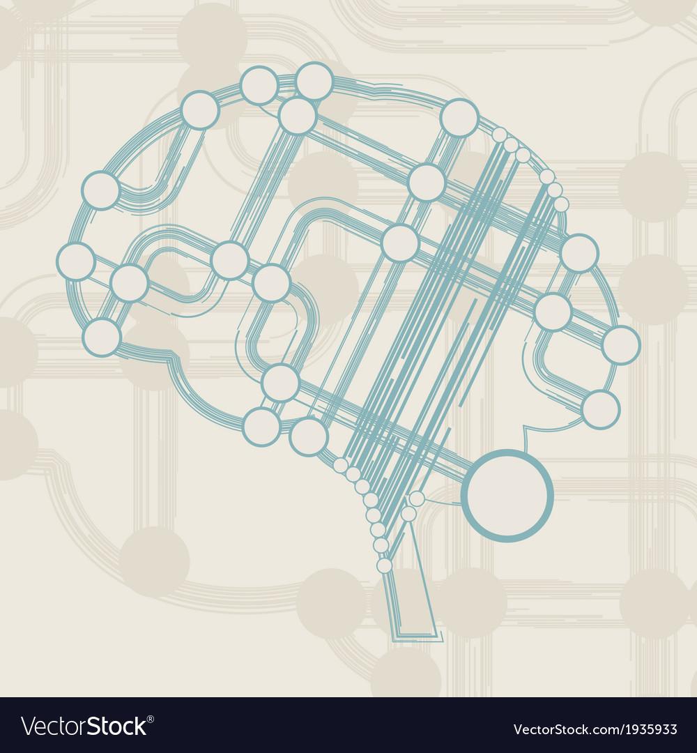 Retro circuit board form of brain vector | Price: 1 Credit (USD $1)