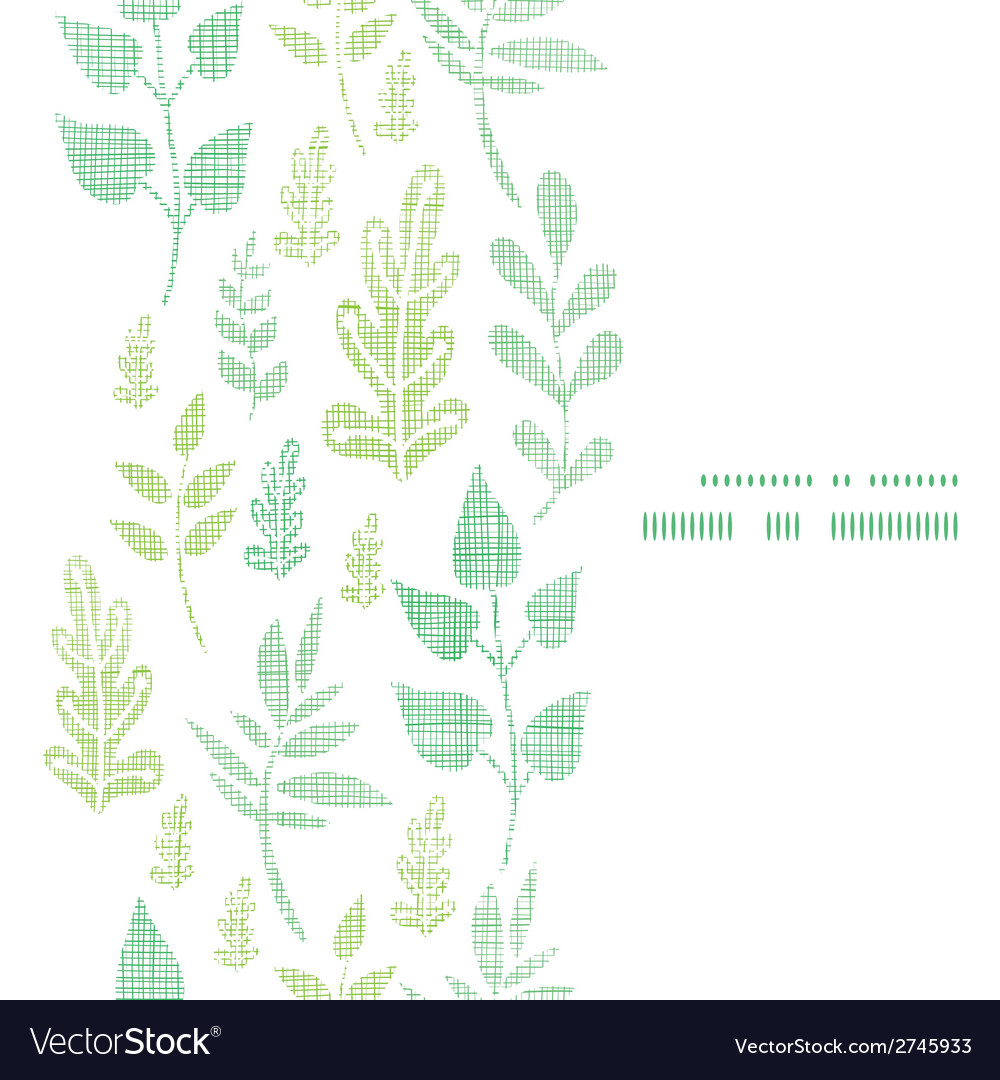 Textile textured spring leaves vertical frame vector | Price: 1 Credit (USD $1)