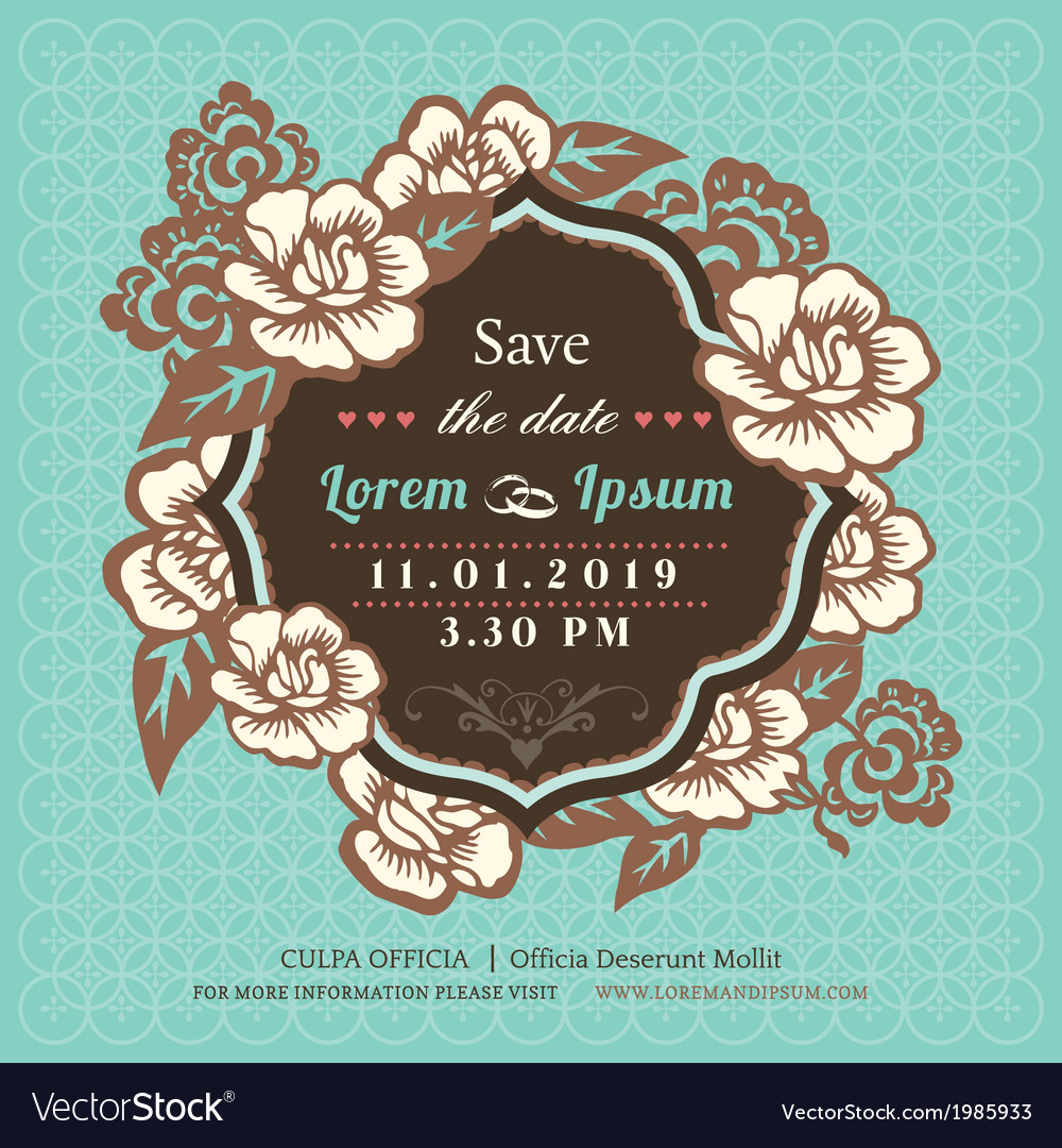 Vintage floral wedding invitation vector | Price: 1 Credit (USD $1)