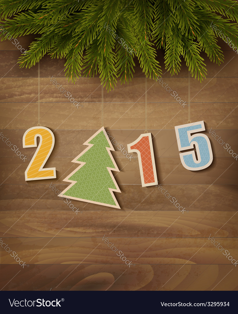 2015 with a christmas tree on wooden background vector | Price: 1 Credit (USD $1)
