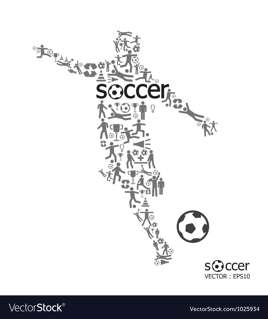 Active soccer player shape with icon soccer sport vector | Price: 1 Credit (USD $1)