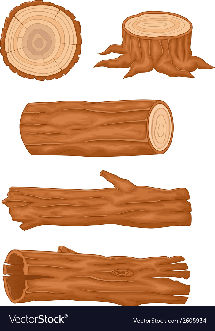 Cartoon wooden log collection vector | Price: 1 Credit (USD $1)