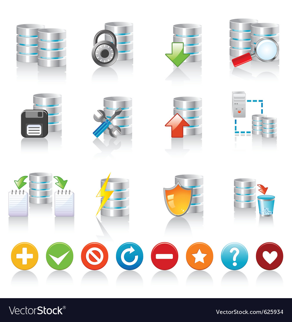 Database icons vector | Price: 1 Credit (USD $1)
