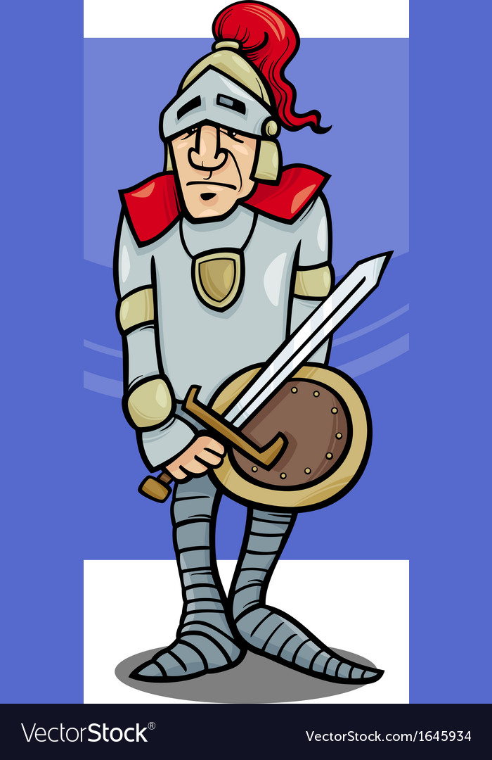 Knight with sword cartoon vector | Price: 1 Credit (USD $1)