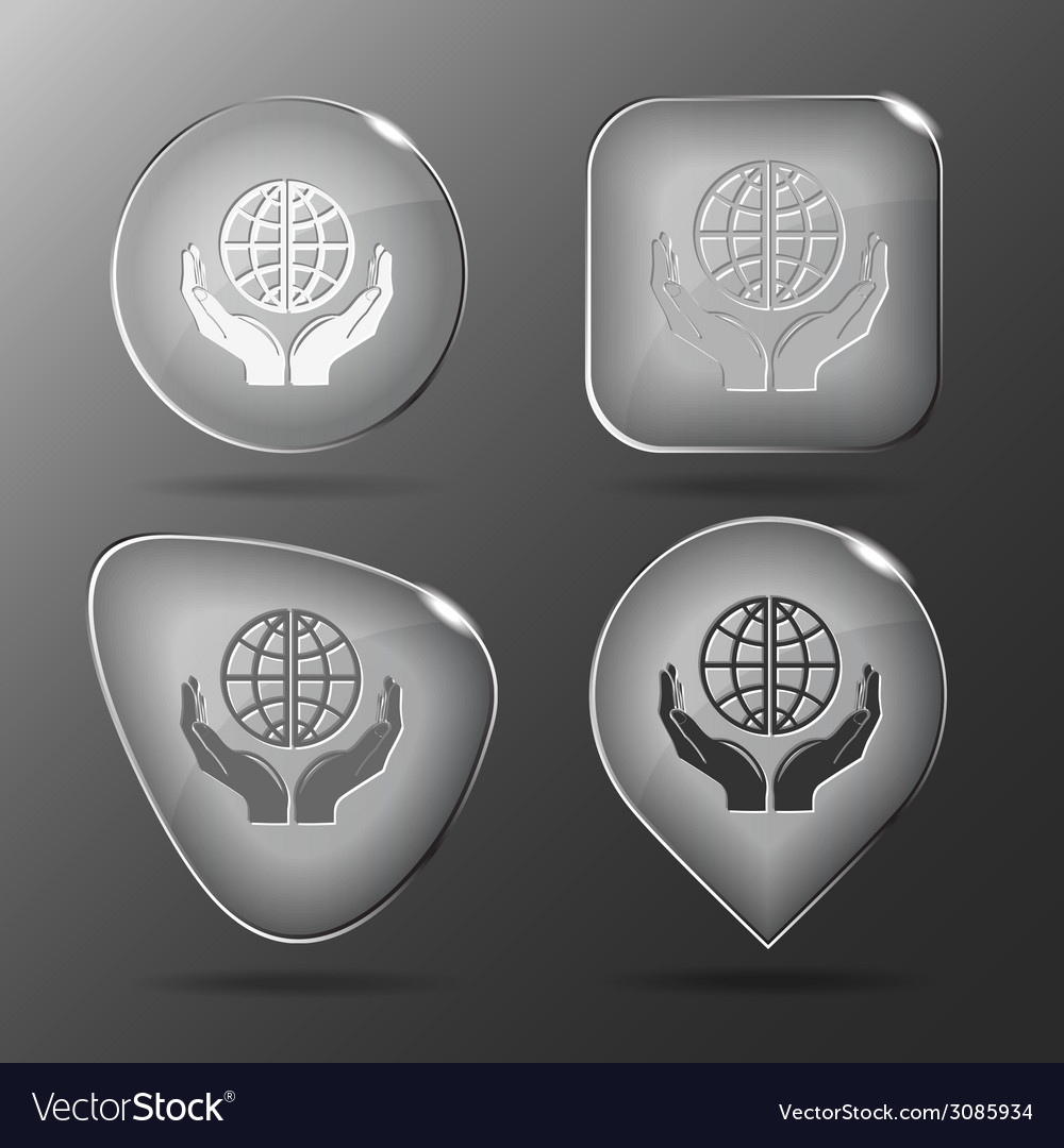 Protection world glass buttons vector | Price: 1 Credit (USD $1)