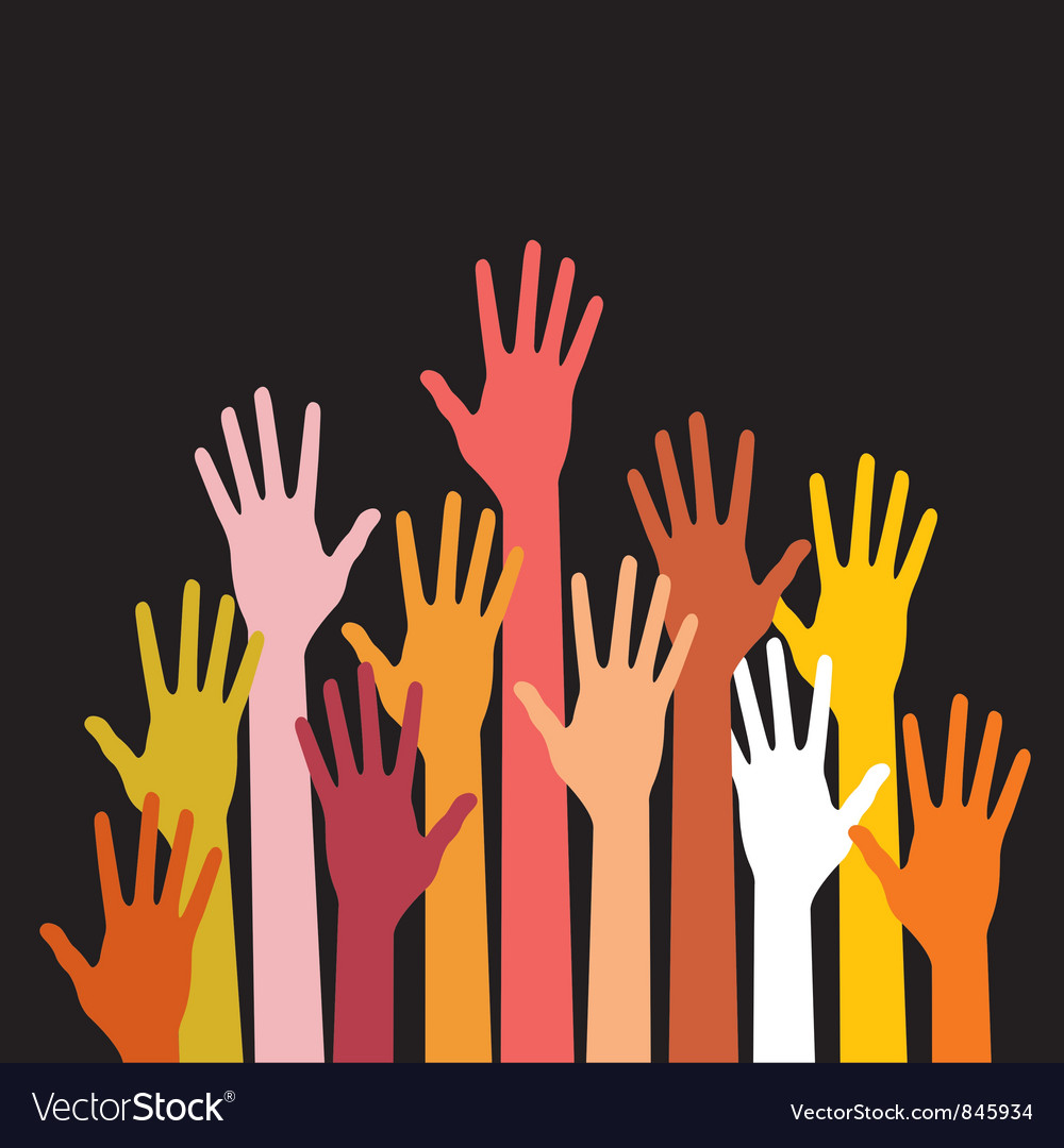 Raised hands on black background vector | Price: 1 Credit (USD $1)