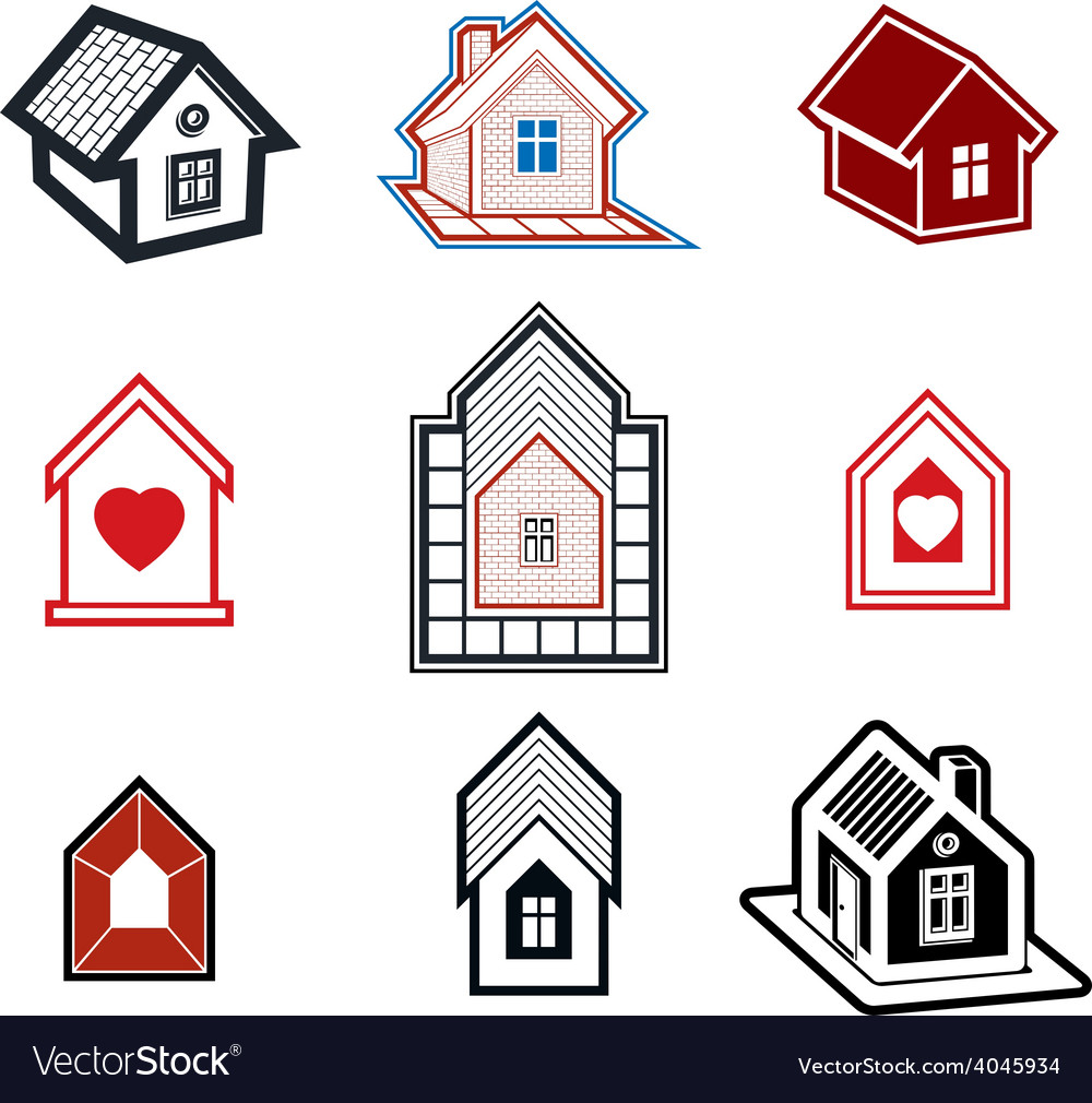 Simple cottages collection real estate and vector | Price: 1 Credit (USD $1)