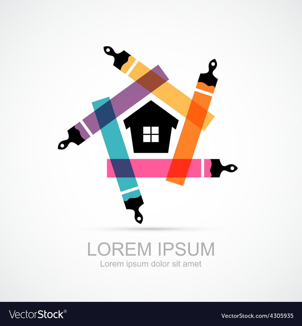 Colorful paint brushes with house symbol icon vector | Price: 1 Credit (USD $1)