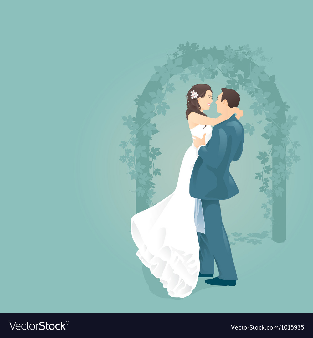 Couples love with wedding gate vector | Price: 1 Credit (USD $1)