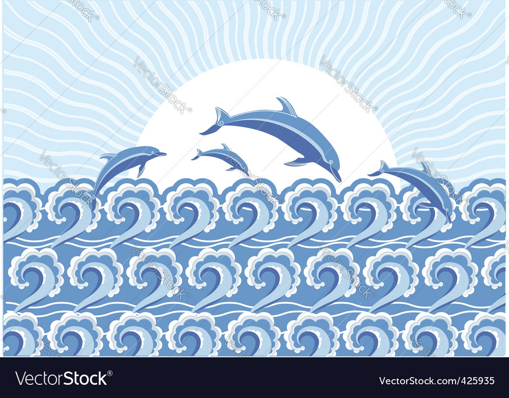 Dolphins in the sea vector | Price: 1 Credit (USD $1)