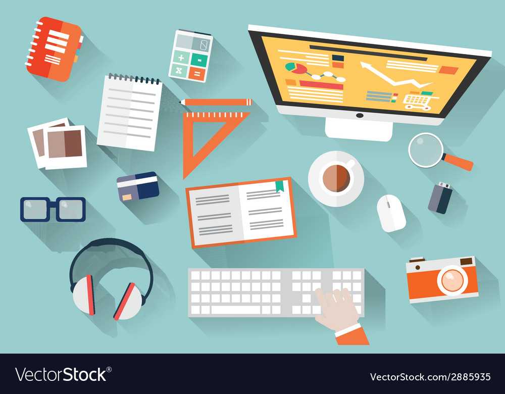 Flat design objects work desk long shadow office vector | Price: 1 Credit (USD $1)