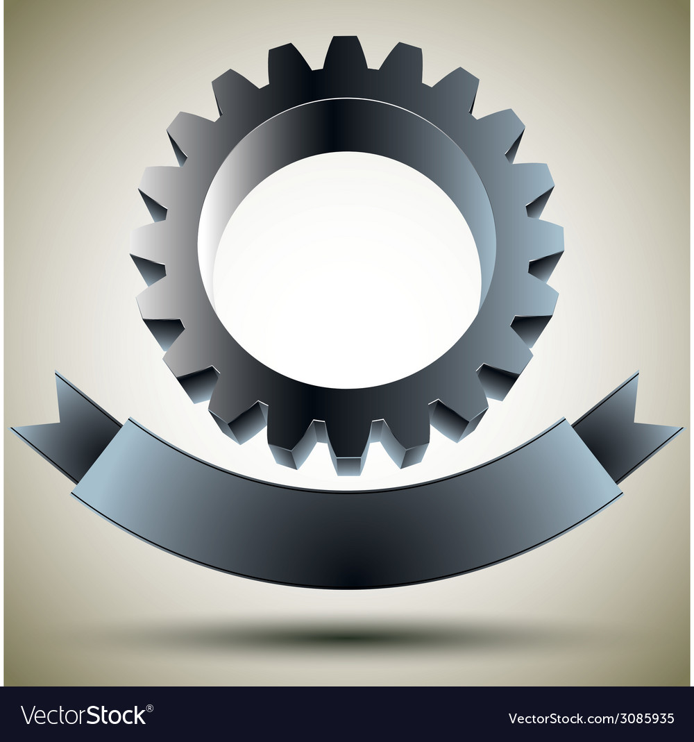 Gear emblem with blank banner vector | Price: 1 Credit (USD $1)