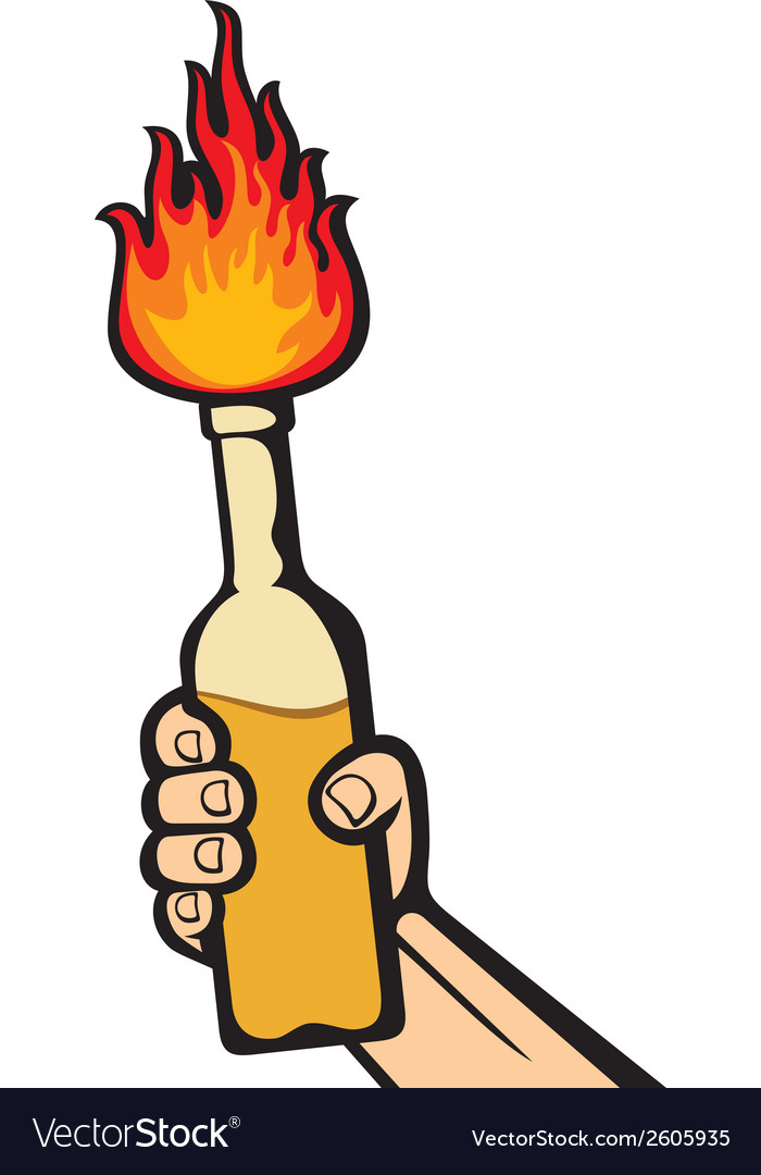 Hand holding a molotov cocktail vector   Price: 1 Credit (USD $1)