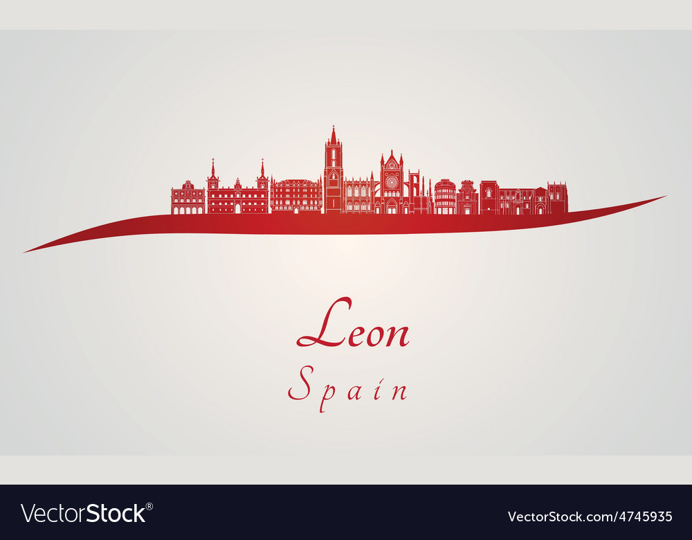 Leon skyline in red and gray background in vector | Price: 1 Credit (USD $1)