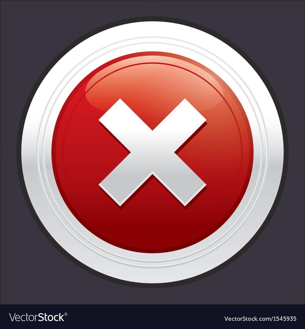 No button cancel icon red round sticker vector | Price: 1 Credit (USD $1)