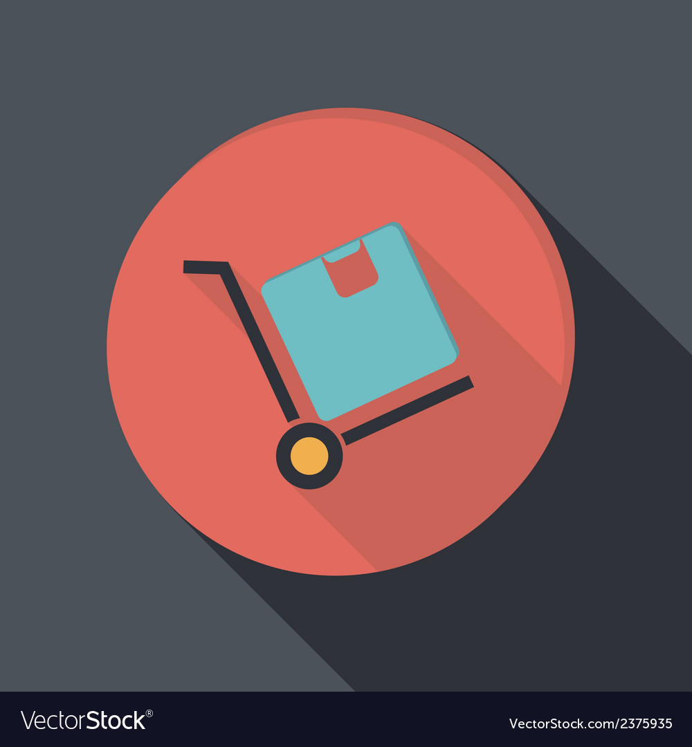 Paper flat icon truck with box logistic icon vector | Price: 1 Credit (USD $1)