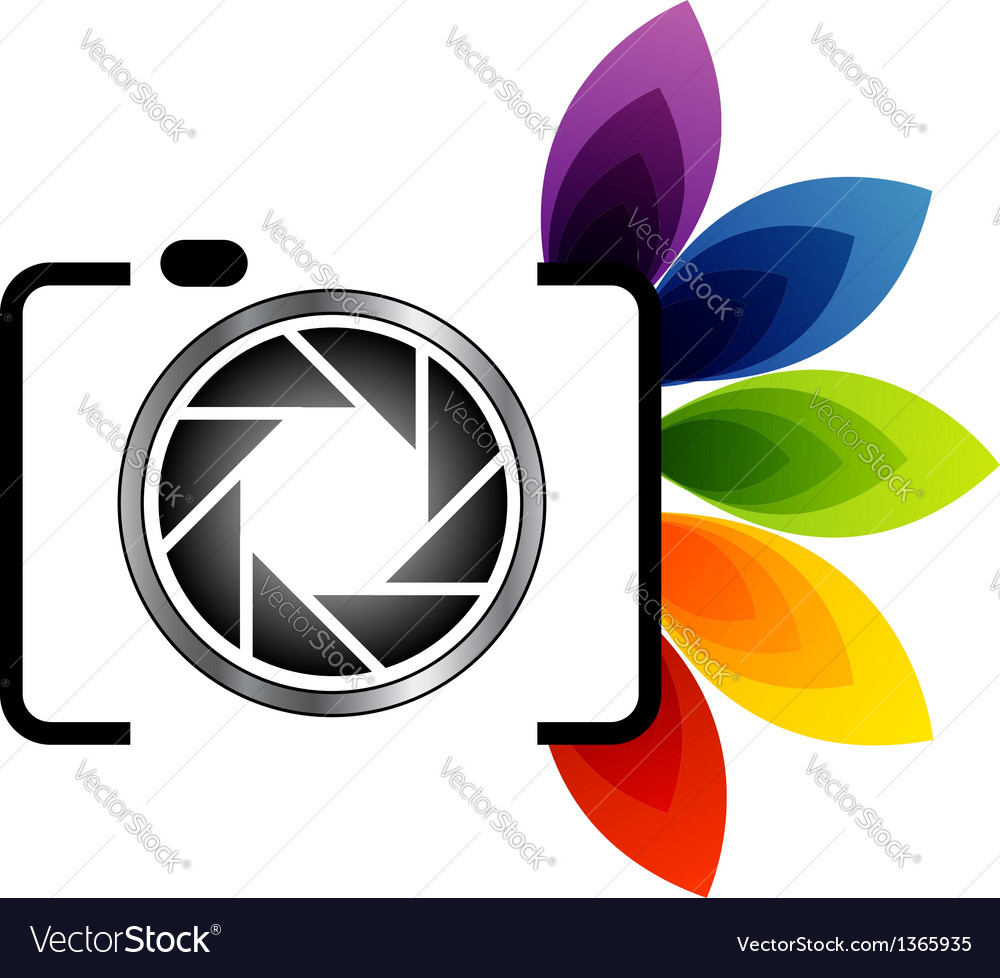Photography logo with colorful leaves vector | Price: 1 Credit (USD $1)