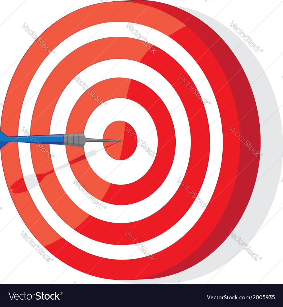 Red and white darts target vector | Price: 1 Credit (USD $1)