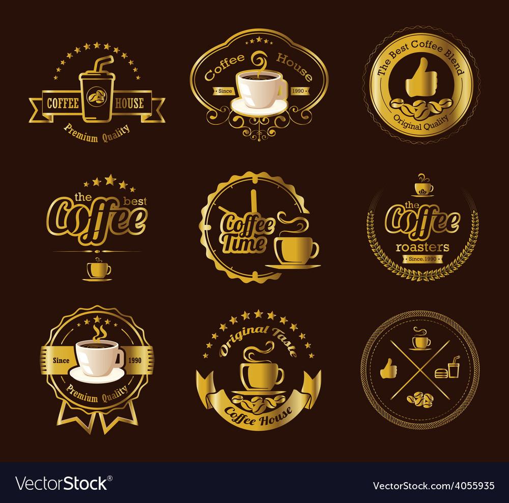 Set of vintage retro coffee labels vector | Price: 3 Credit (USD $3)