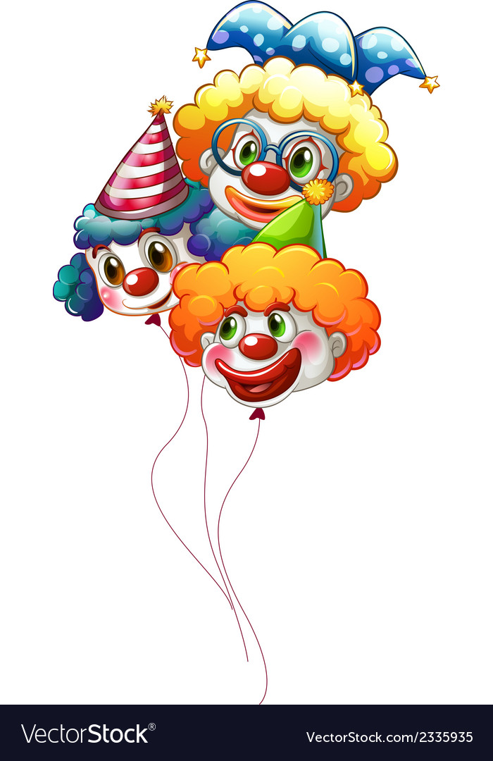Three colourful clown balloons vector | Price: 1 Credit (USD $1)