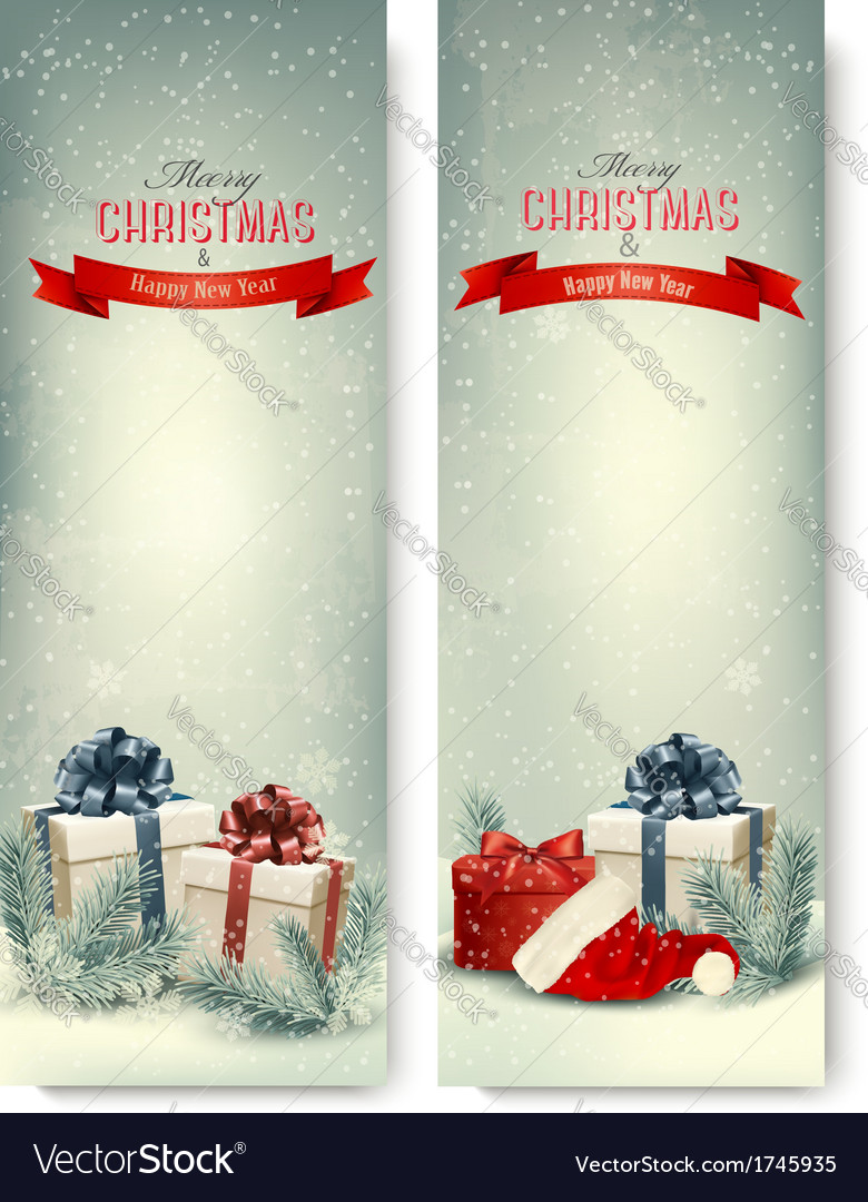 Two retro holiday banners with gift boxes and vector | Price: 1 Credit (USD $1)