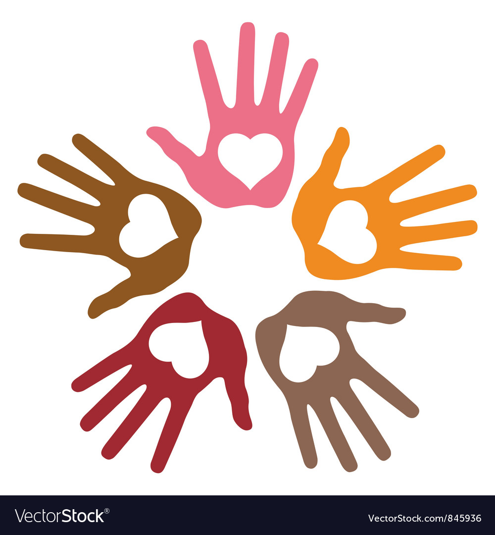 Circle of 5 loving hand prints vector | Price: 1 Credit (USD $1)