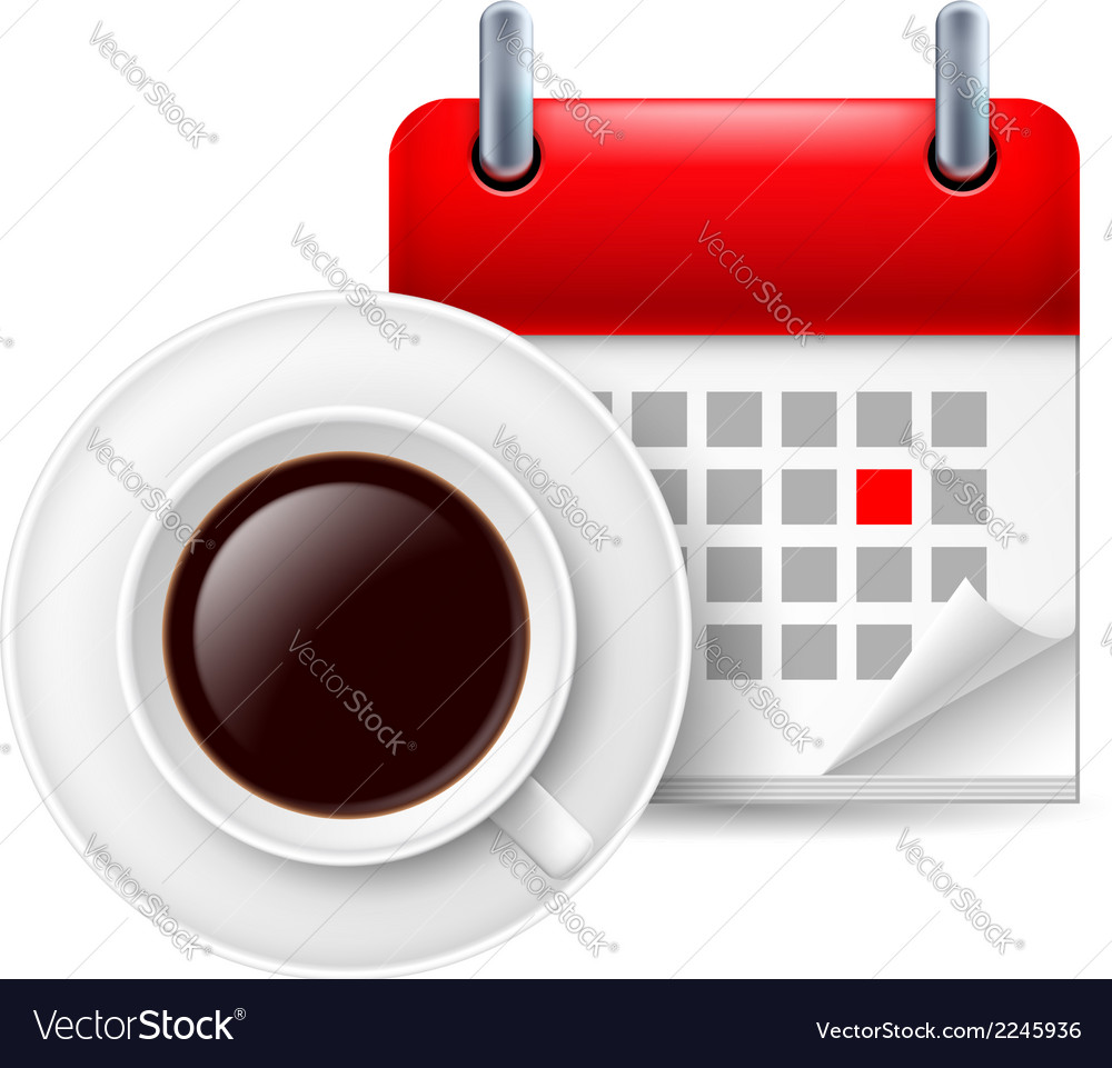 Cup of coffee ad calendar vector | Price: 1 Credit (USD $1)