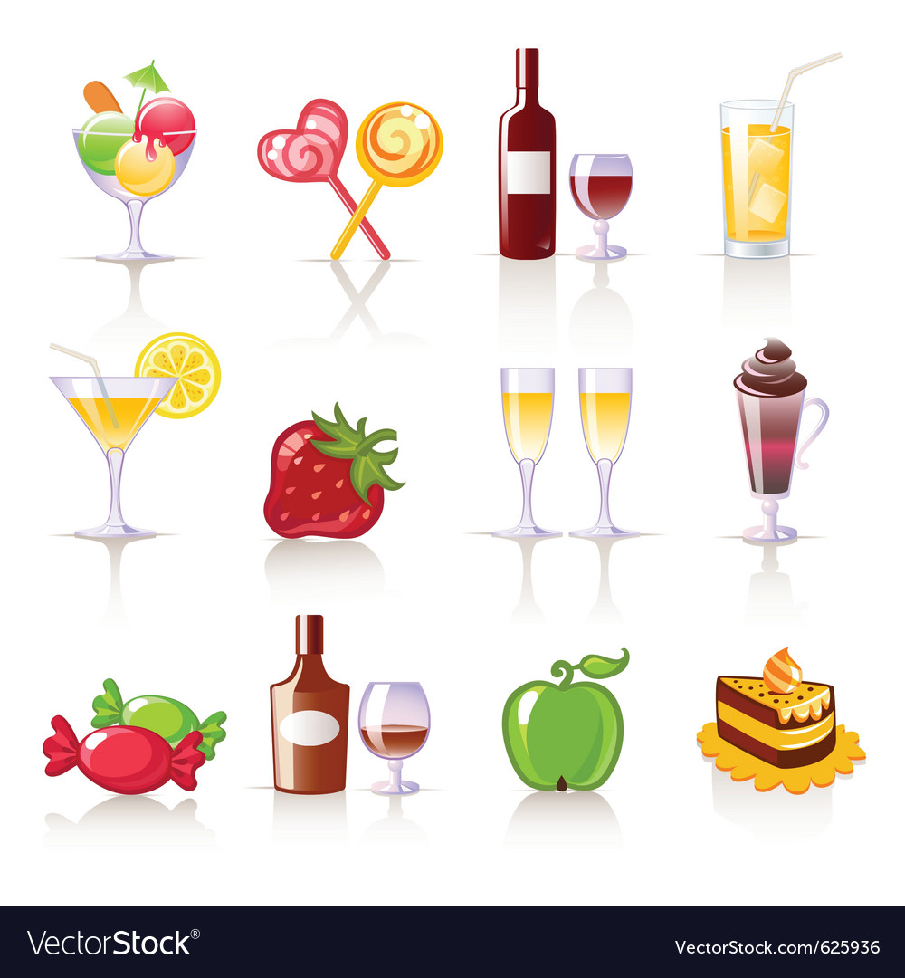Dessert and drink icons vector | Price: 1 Credit (USD $1)