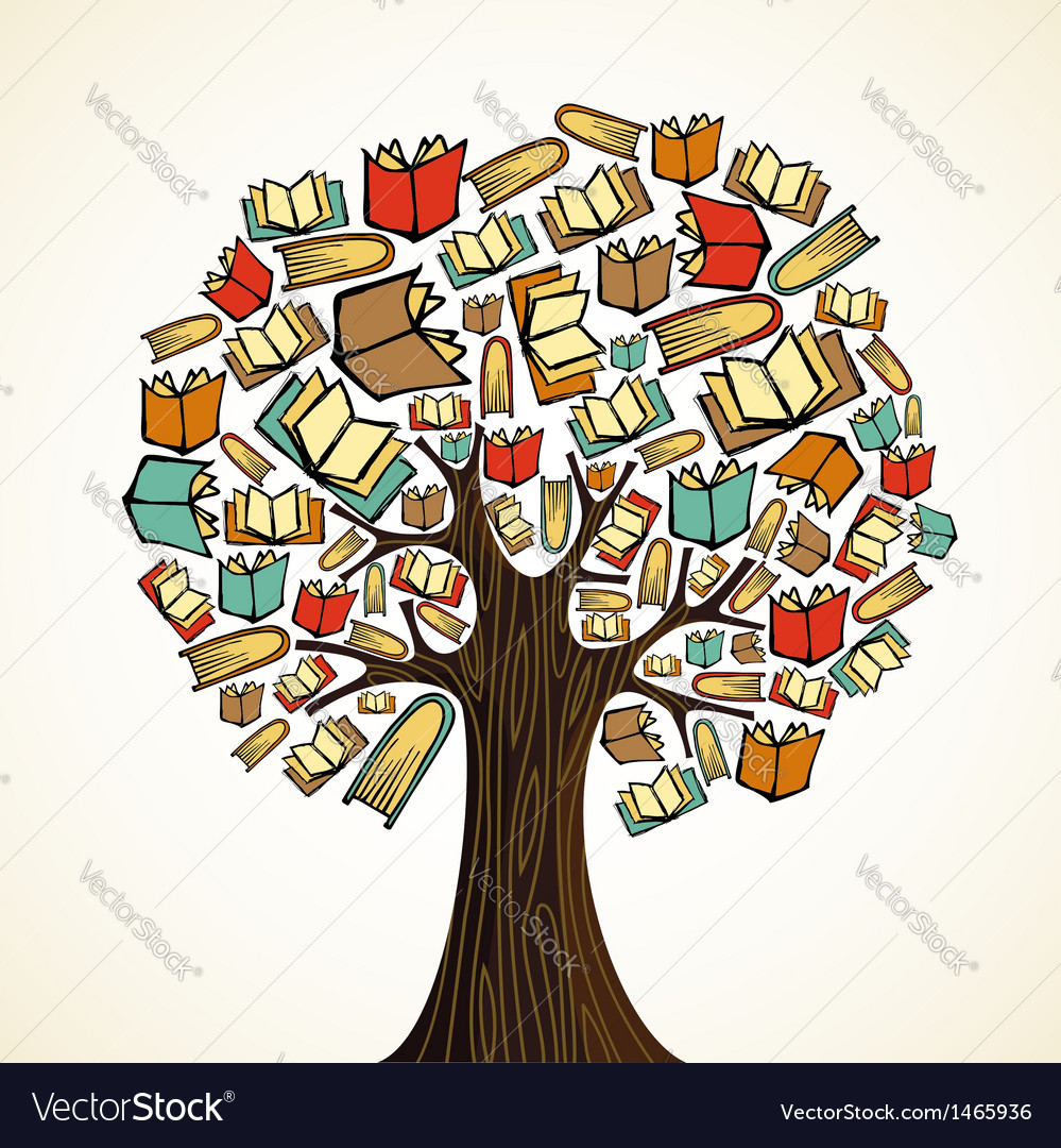 Education concept tree with books vector | Price: 1 Credit (USD $1)