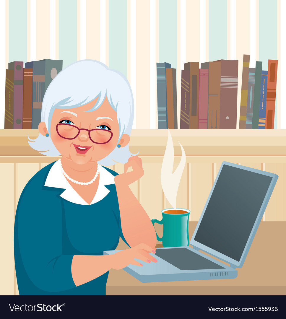 Elderly woman using a laptop vector | Price: 1 Credit (USD $1)